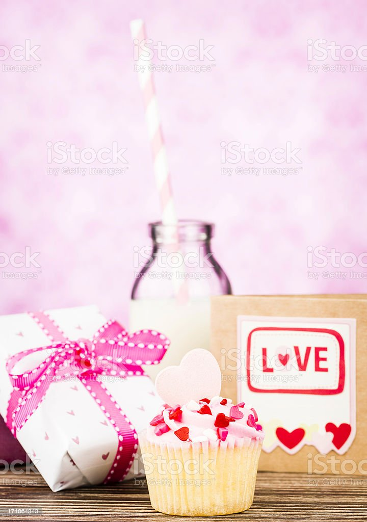 Valentine's Day Cupcake and Milk royalty-free stock photo
