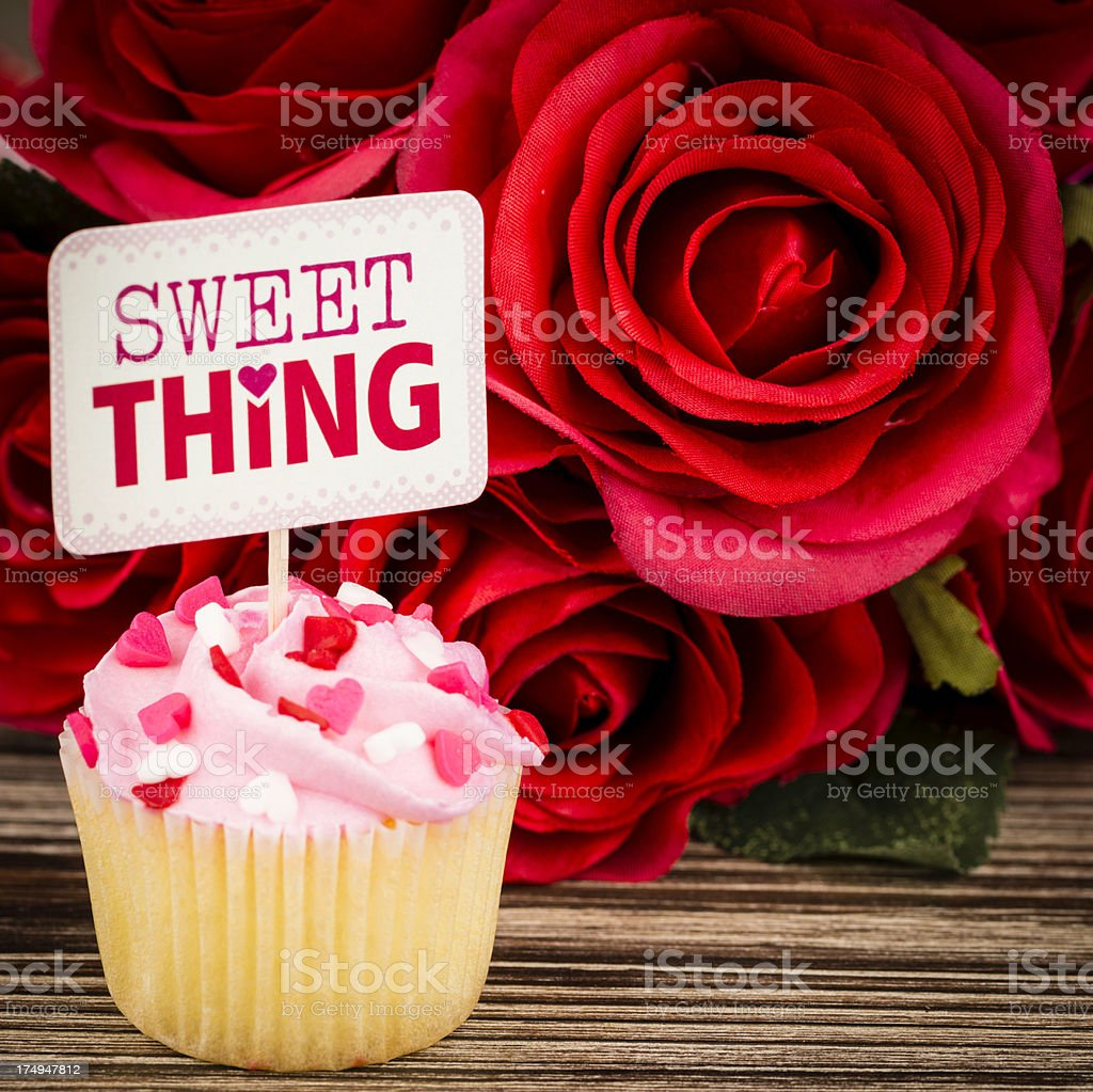 Valentine's Day Cupcake and Roses royalty-free stock photo