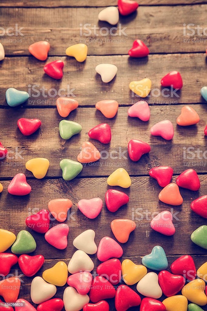 Valentine´s Day Decoration with Heart Candys stock photo