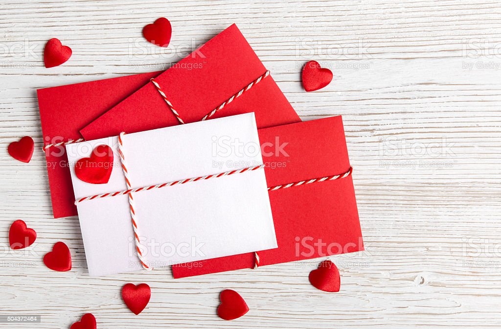 Valentines Day Envelope Mail, Red Heart, Valentine's Letter, Wedding Love stock photo