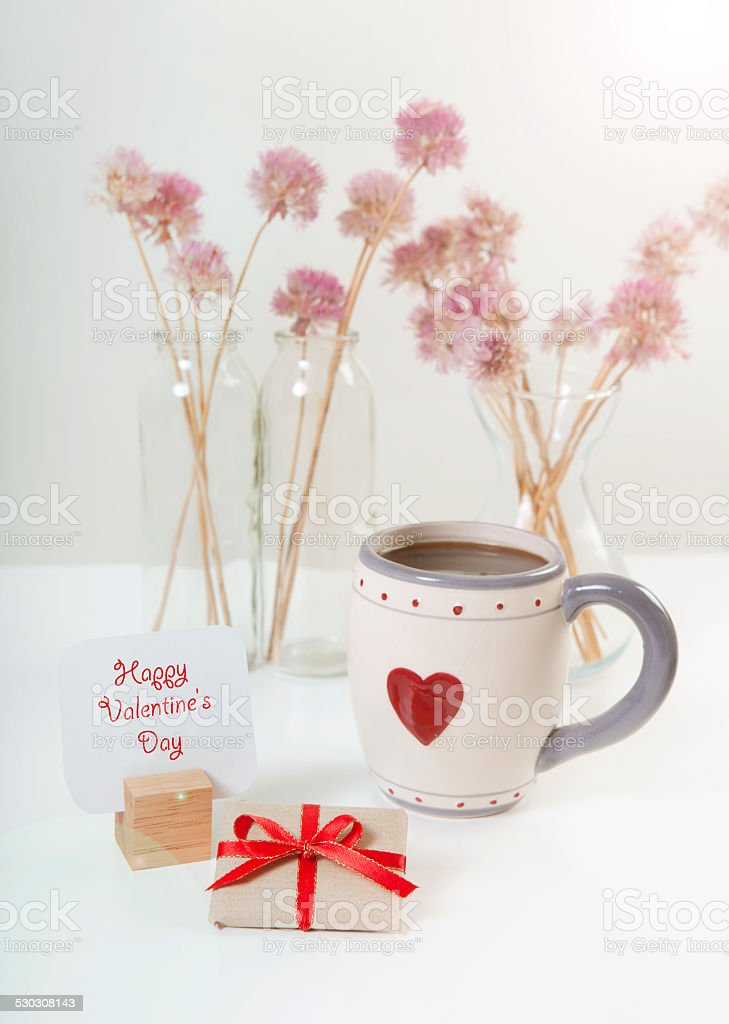 valentine's day gift and coffee stock photo