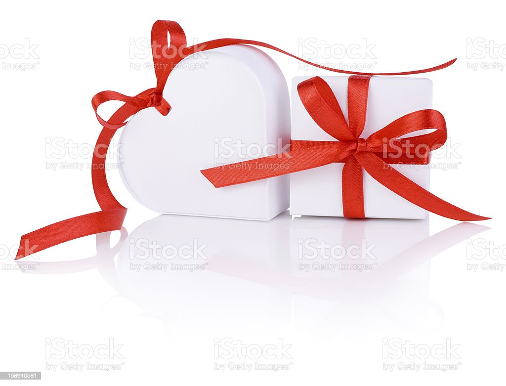 Valentines Day gift in white box and heart red ribbon royalty-free stock photo