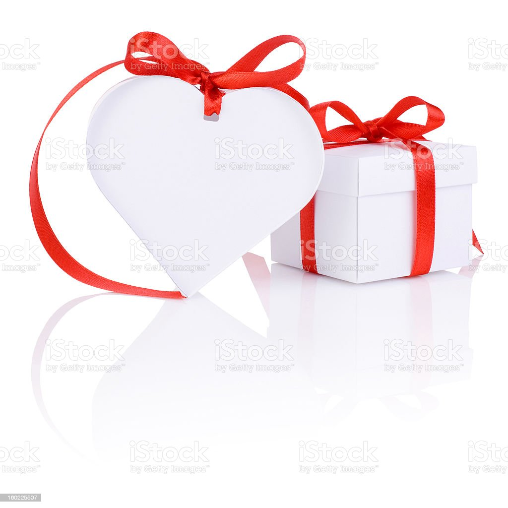 Valentines Day gift in white box and heart red ribbon stock photo