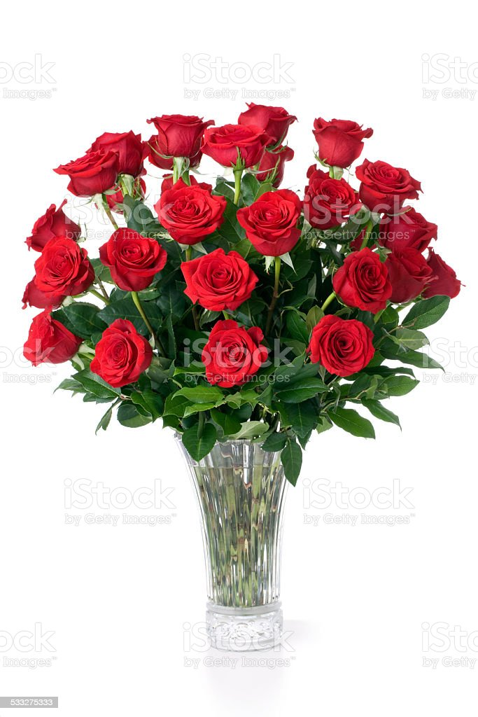 Valentine's day gift vase of red single stem red roses stock photo