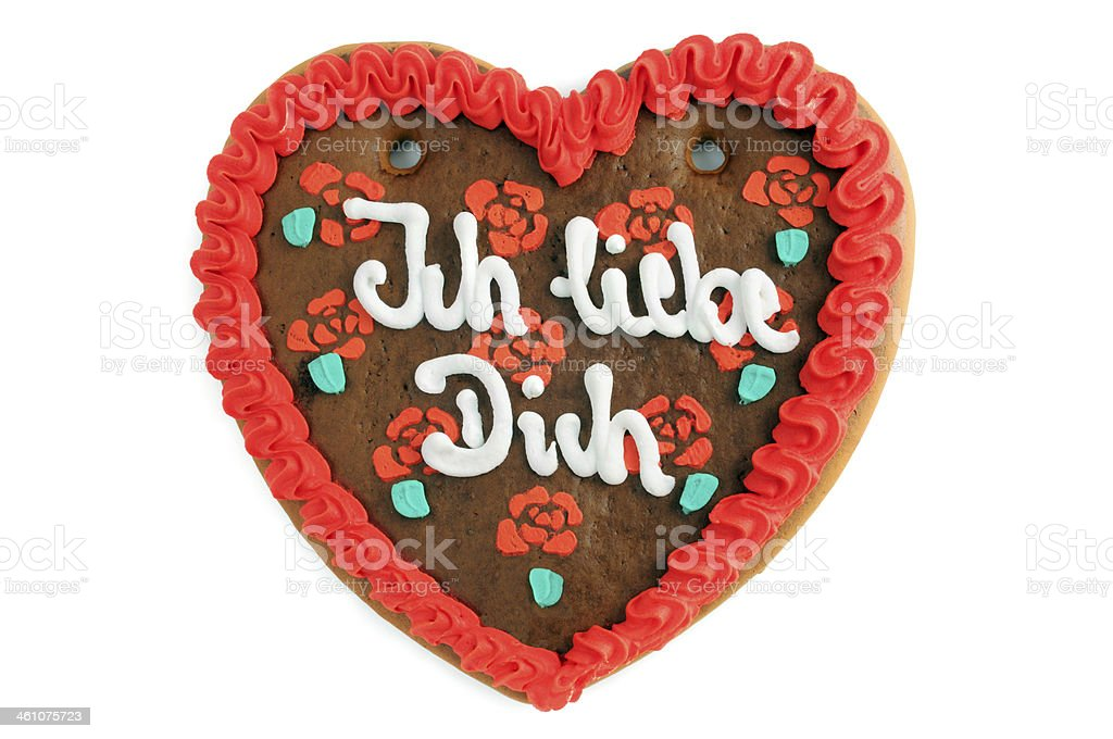 valentines day gingerbread cookie heart with Ich liebe Dich royalty-free stock photo