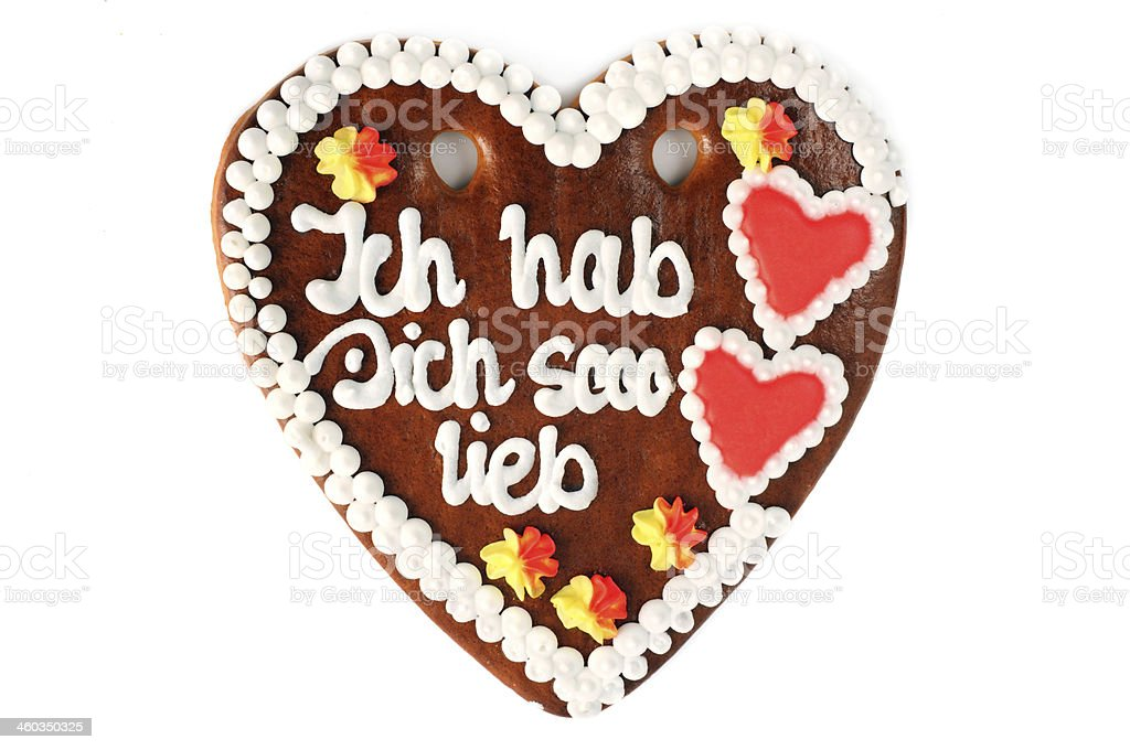 valentines day gingerbread heart with i like you so much royalty-free stock photo