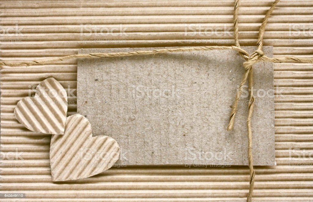 valentine's day, heart cut from corrugated paper, blank note stock photo