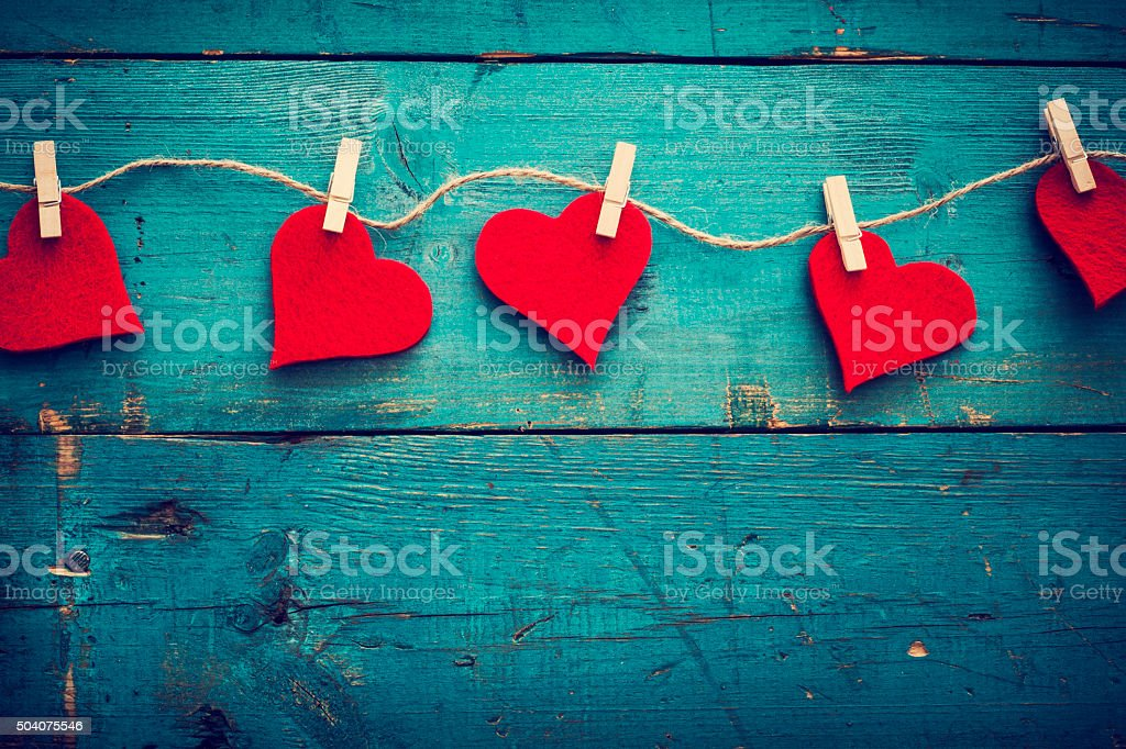 Valentines day hearts on wooden background royalty-free stock photo