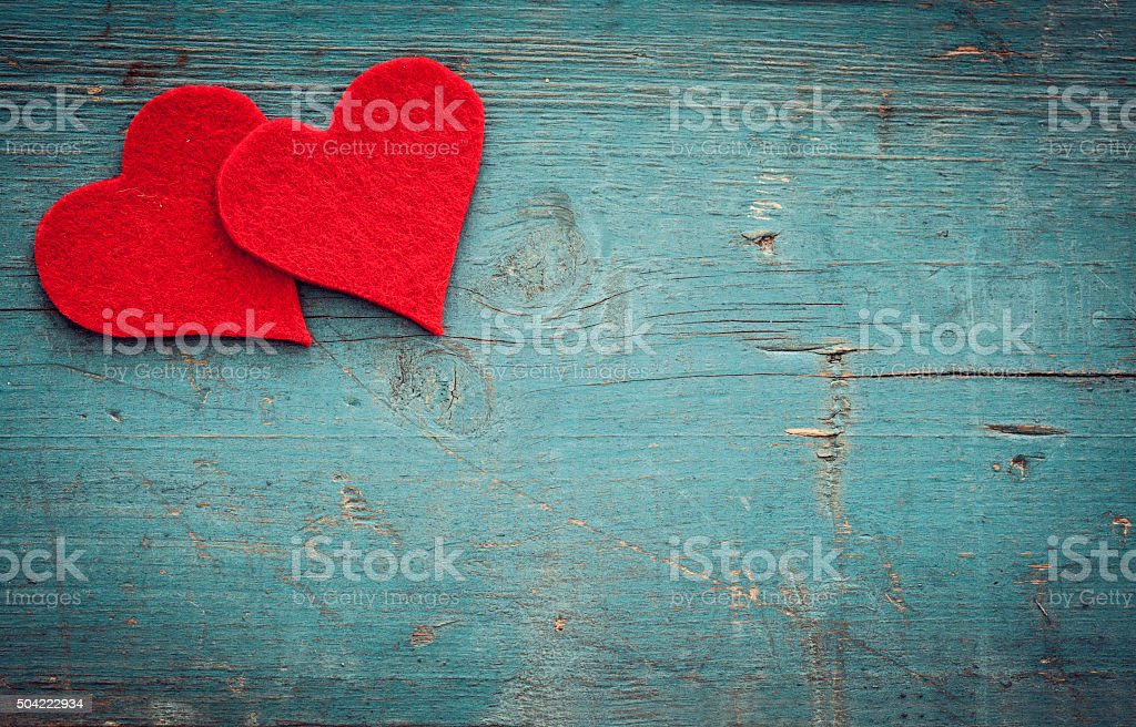 Valentines day hearts on wooden background stock photo
