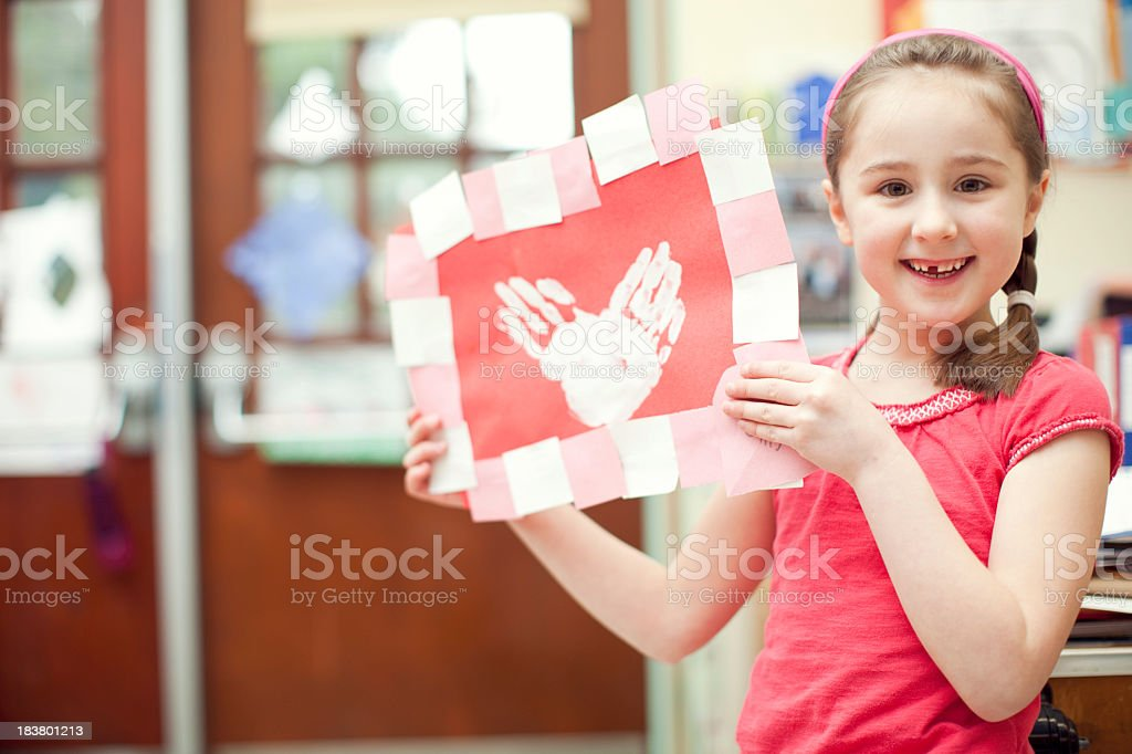 Valentines Day in School Classroom stock photo
