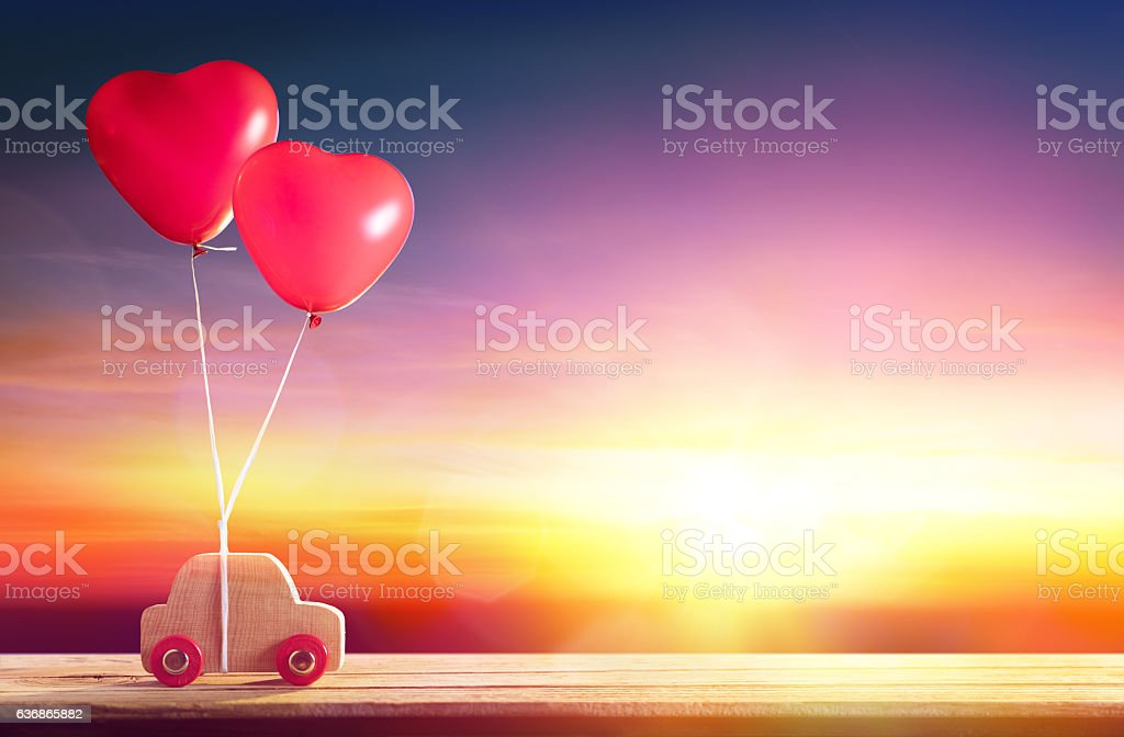 Valentines Day Incoming -  Car With Hearts Ballons stock photo