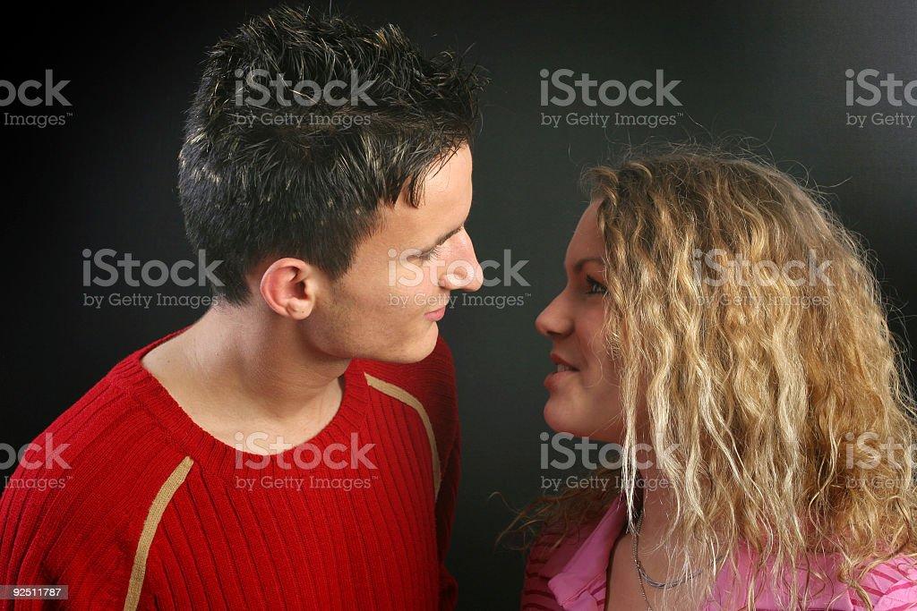 Valentine's day kiss stock photo