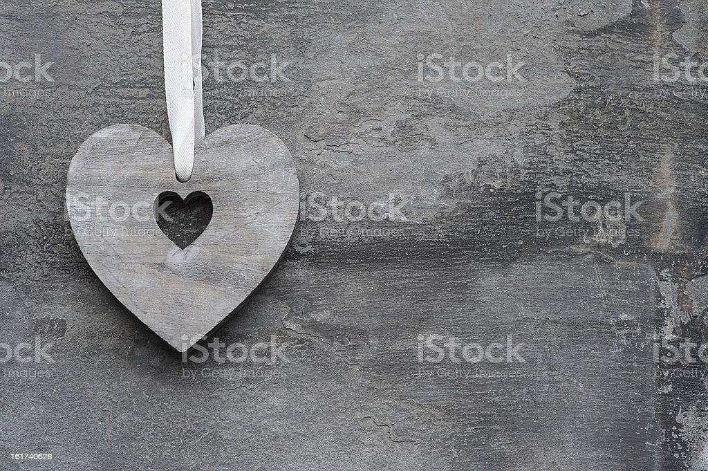 Valentine's Day love heart on rustic background royalty-free stock photo