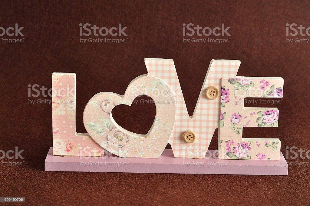 Valentine's Day. Love in pink letters stock photo