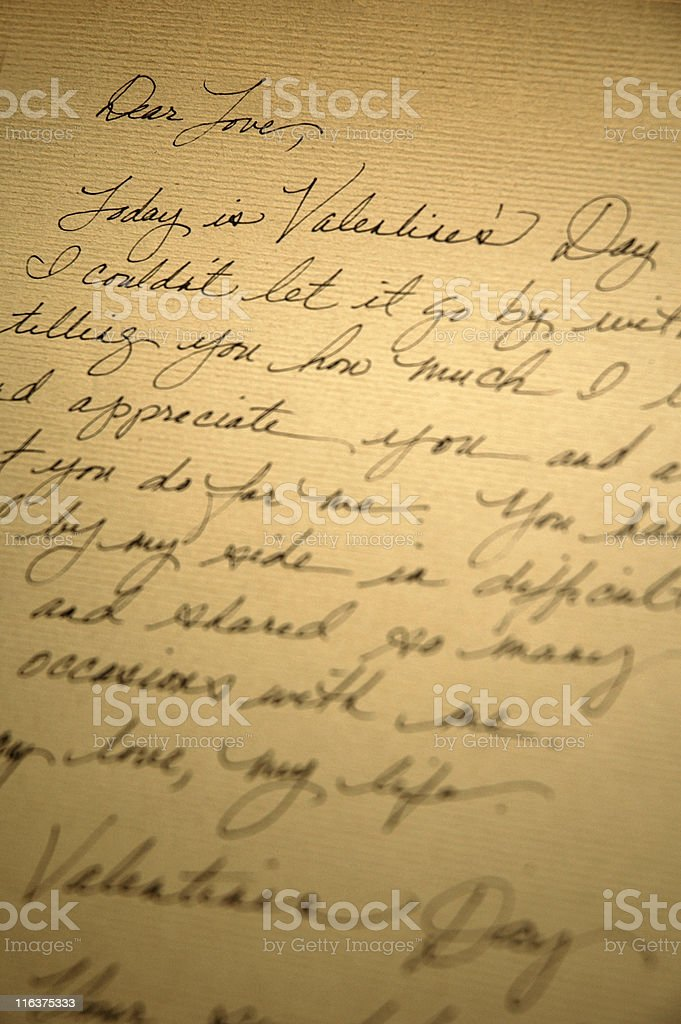 Valentine's Day Love Letter Vertical stock photo