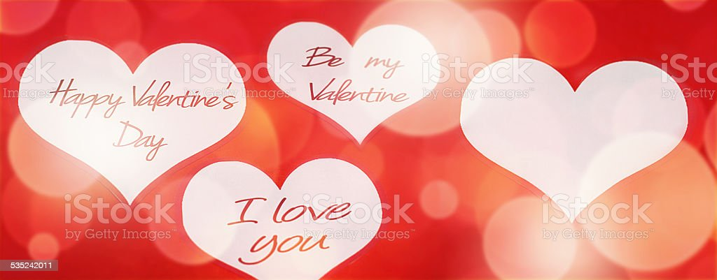 Valentine's Day messages in hearts stock photo