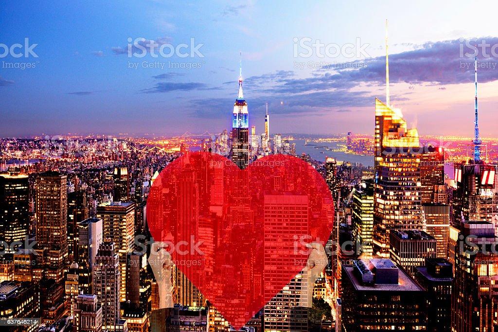 Valentine's Day over Manhattan stock photo
