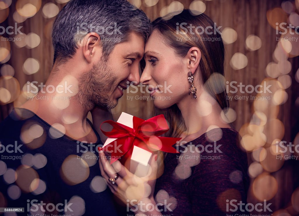 valentines day  partnership with present stock photo