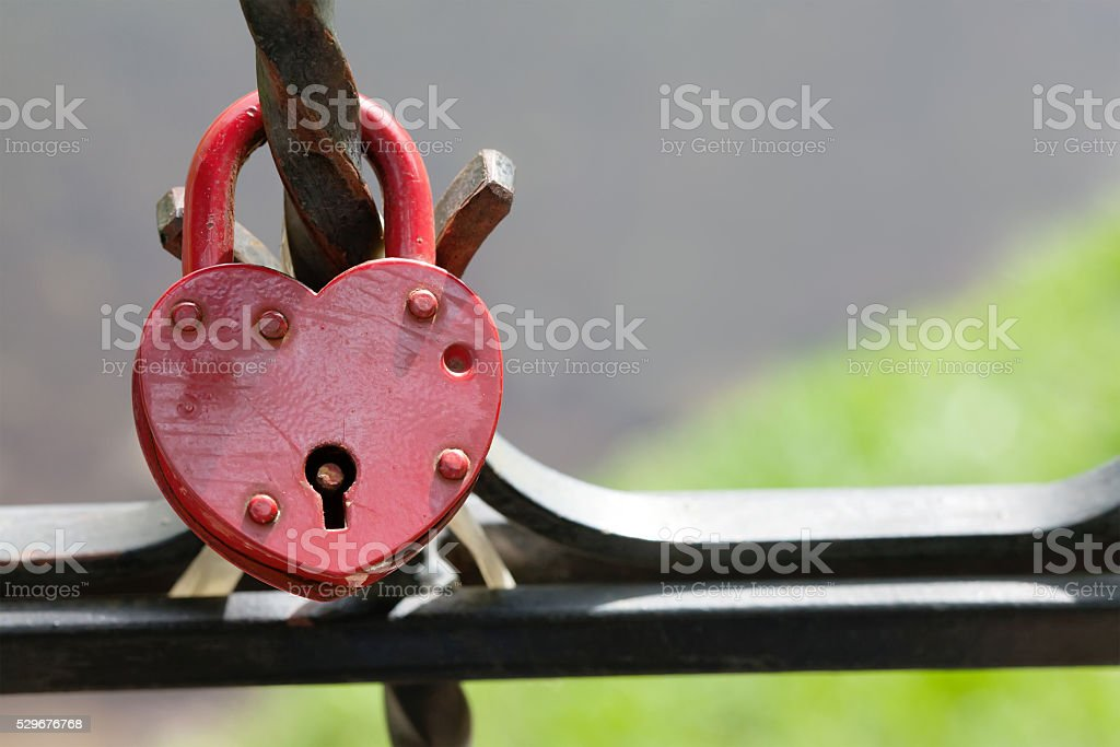 Valentines day postcard template. Closed padlock, vintage design, macro view stock photo