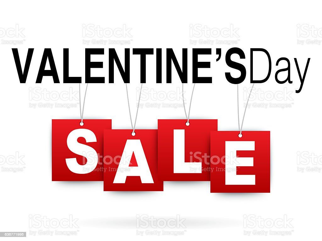Valentines Day sale on white stock photo