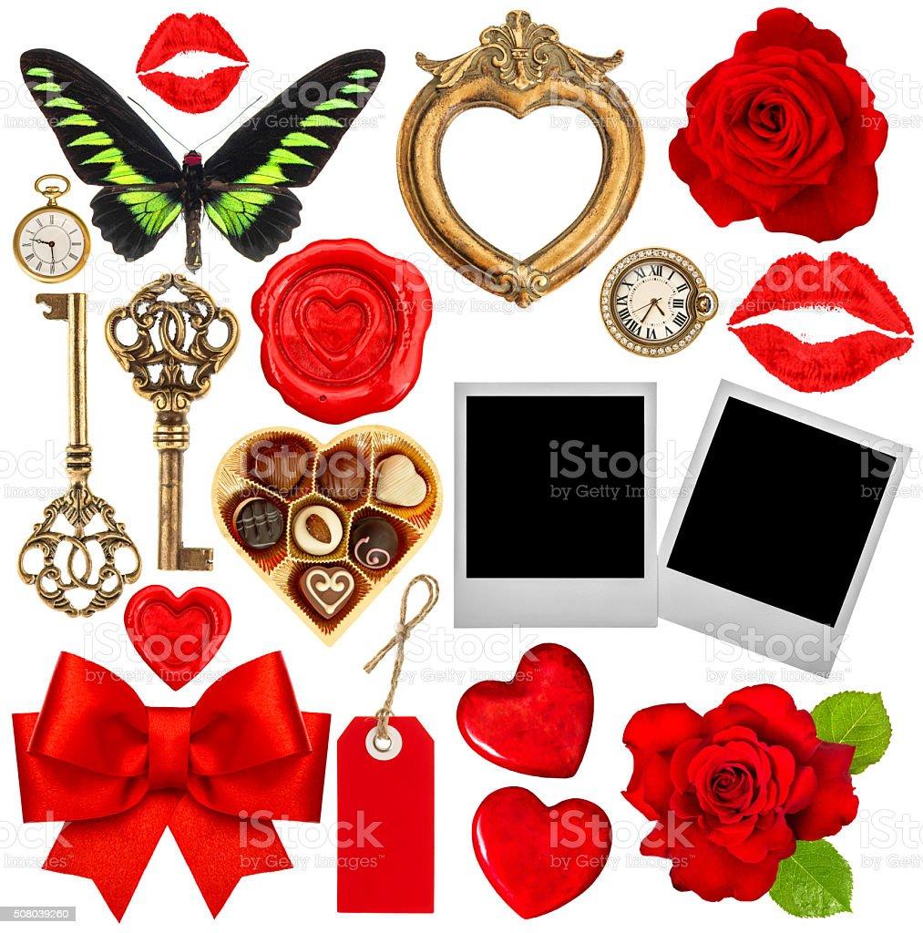 Valentines Day scrapbook. Red hearts, photo frame, polaroid, kiss stock photo