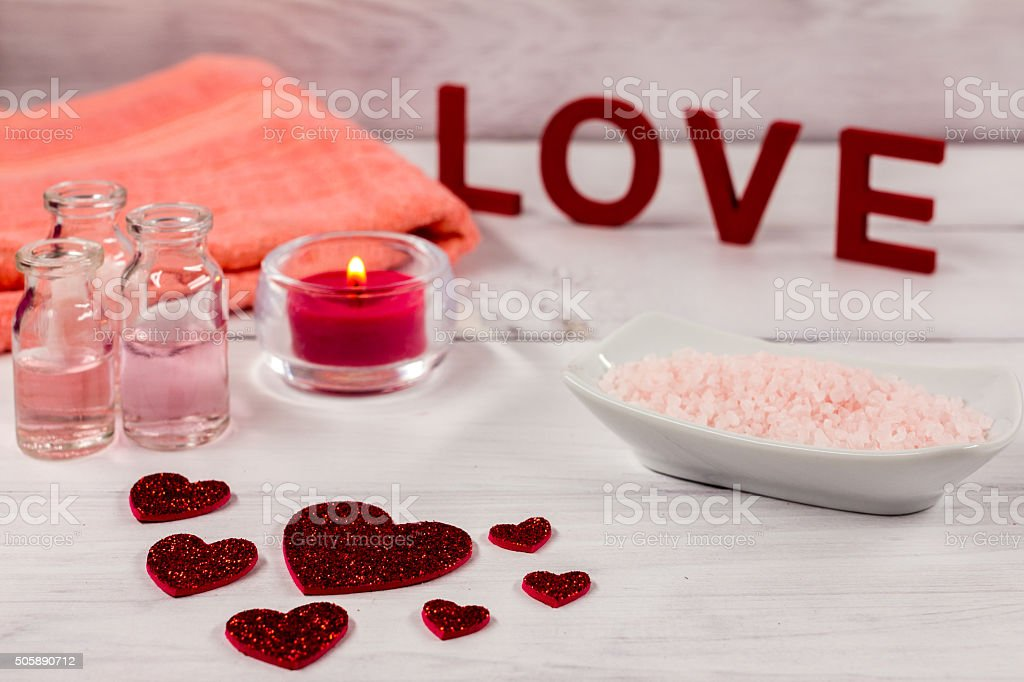 valentines day spa word love red hearths bath salts royalty free stock photo - Valentines Day Spa
