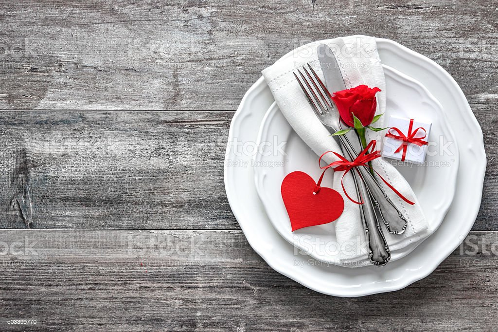 Valentines day table place setting. Holidays background