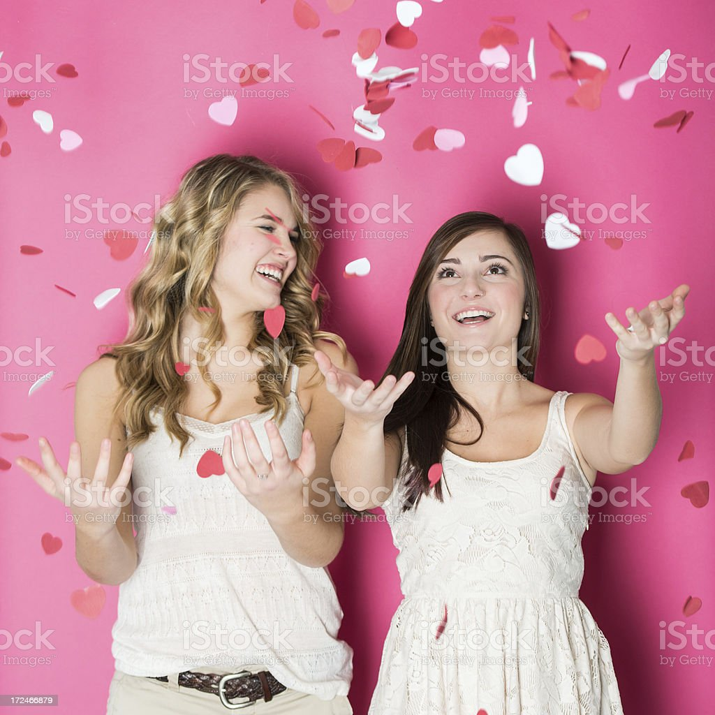 Valentine's Day Throwing Hearts stock photo