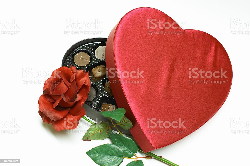 Valentine's Day velvet heart with candy & rose royalty-free stock photo