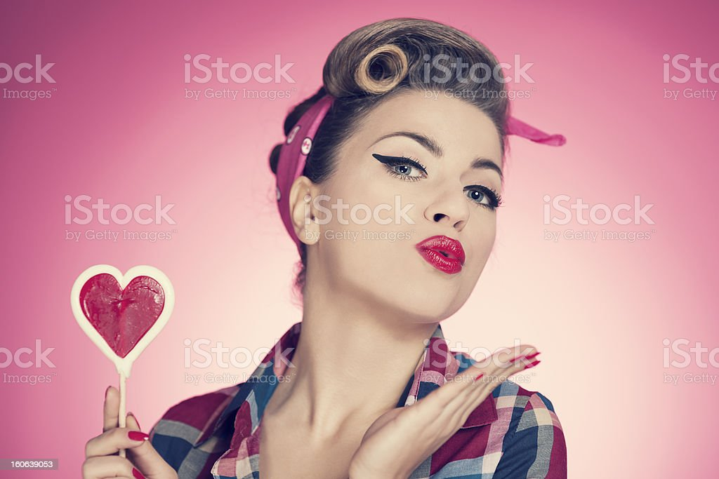 Valentine's day with pin up girl stock photo
