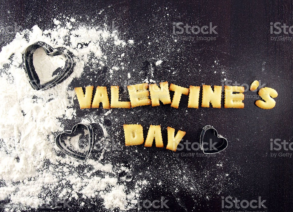 valentine's day word, biscuit cookies letters stock photo