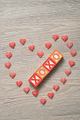 Valentine's Day. XOXO Spelled with colorful alphabet blocks