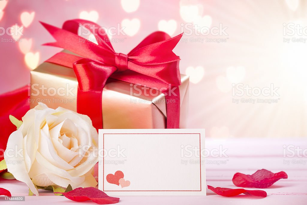 Valentine's decorations on a bright pink background royalty-free stock photo