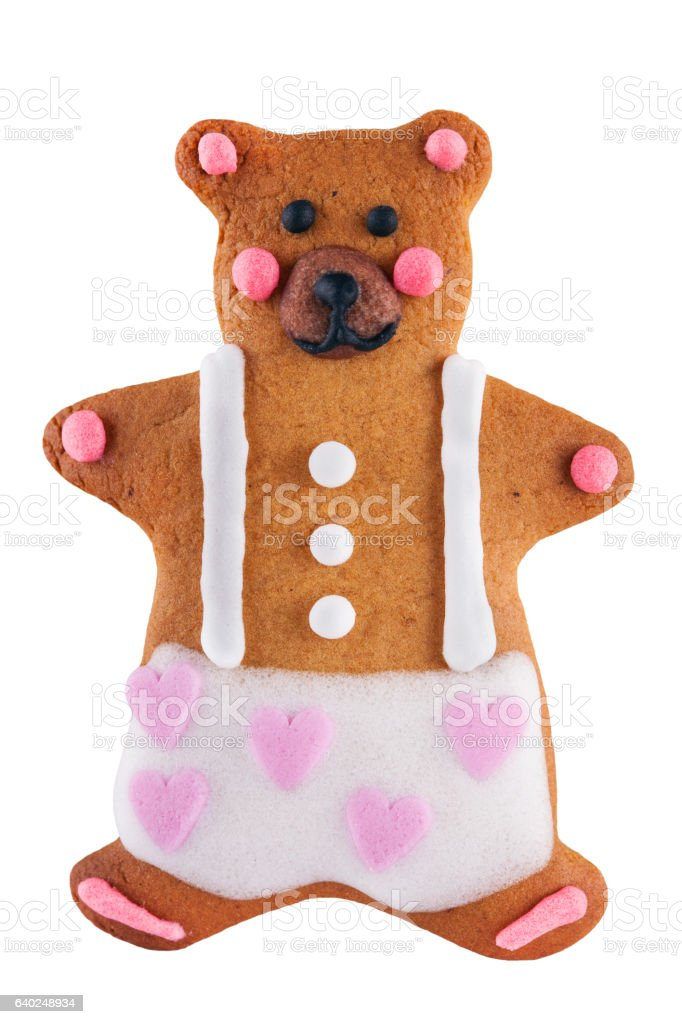 Valentine's gingerbread teddy Bear cookie isolated. stock photo