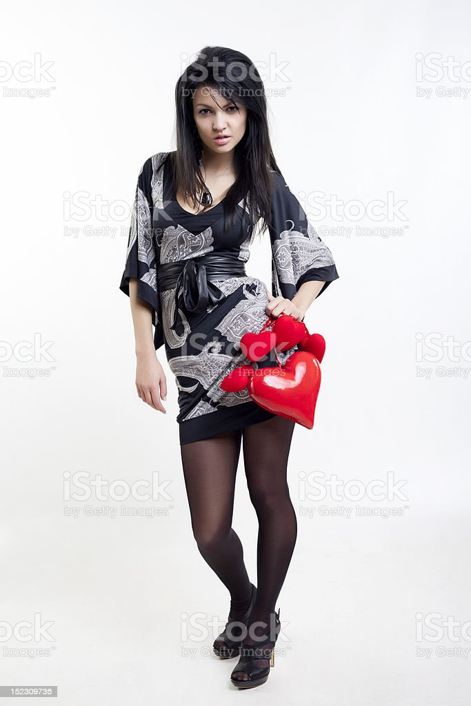 Valentine's girl with brown hair royalty-free stock photo