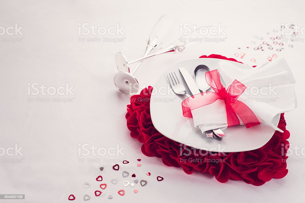 Valentine's love dinner set stock photo