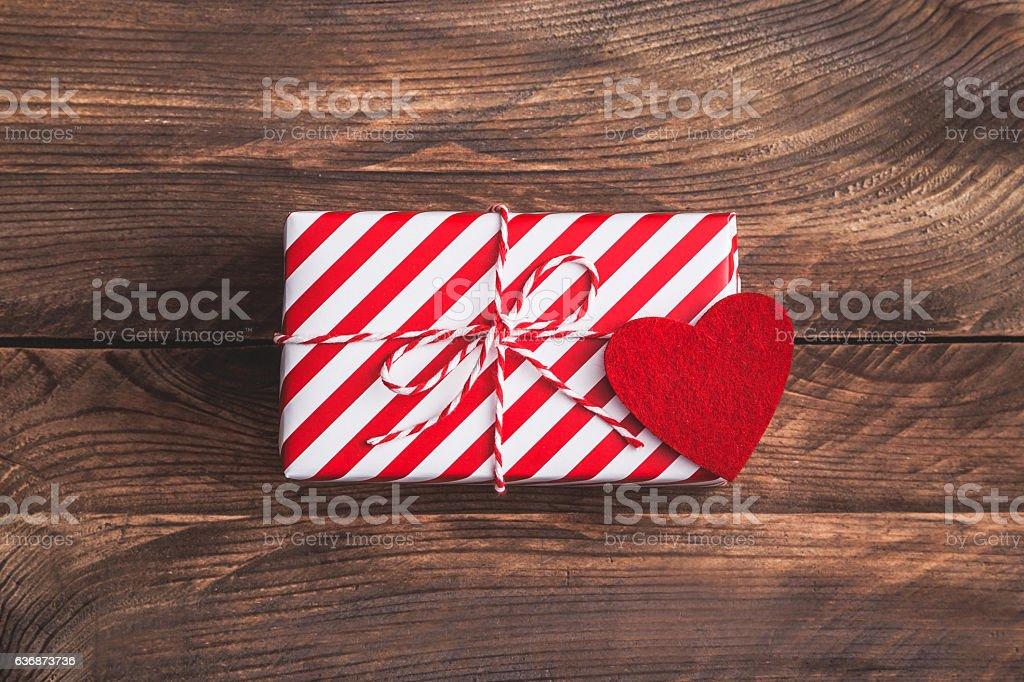 Valentine's modern gift on wooden background stock photo