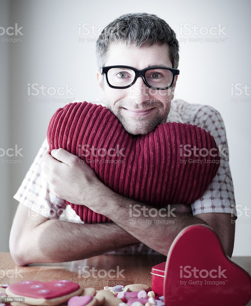 Valentine's Nerd, Geek, Regular Guy stock photo