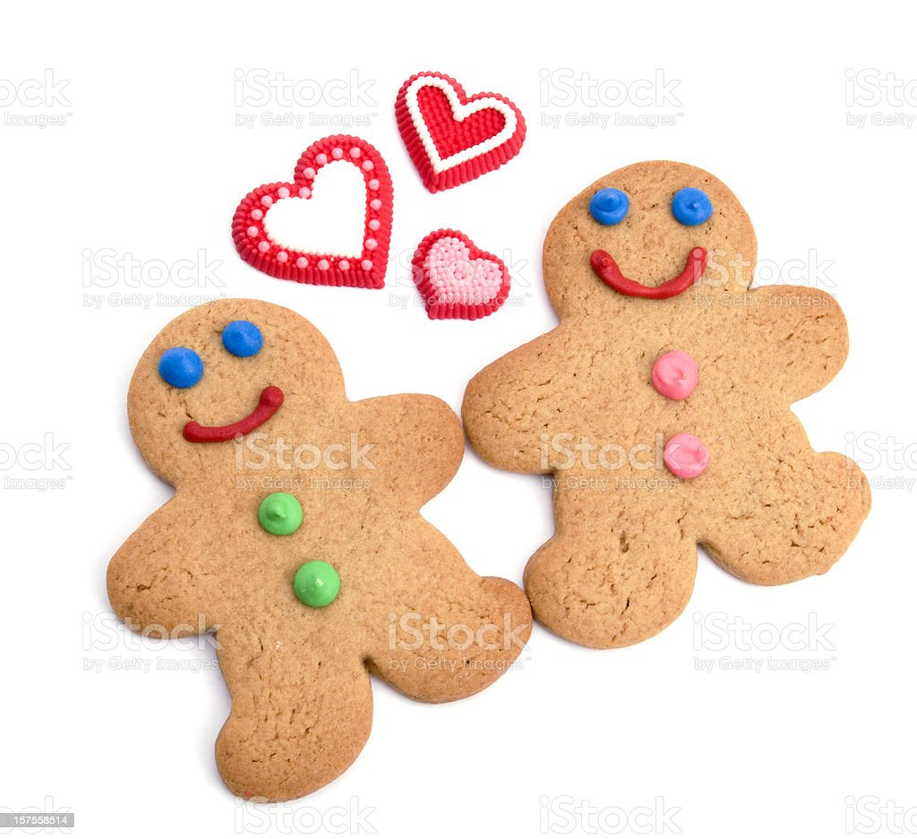 Valentine's or Romance Concept, Gingerbread People in Love royalty-free stock photo