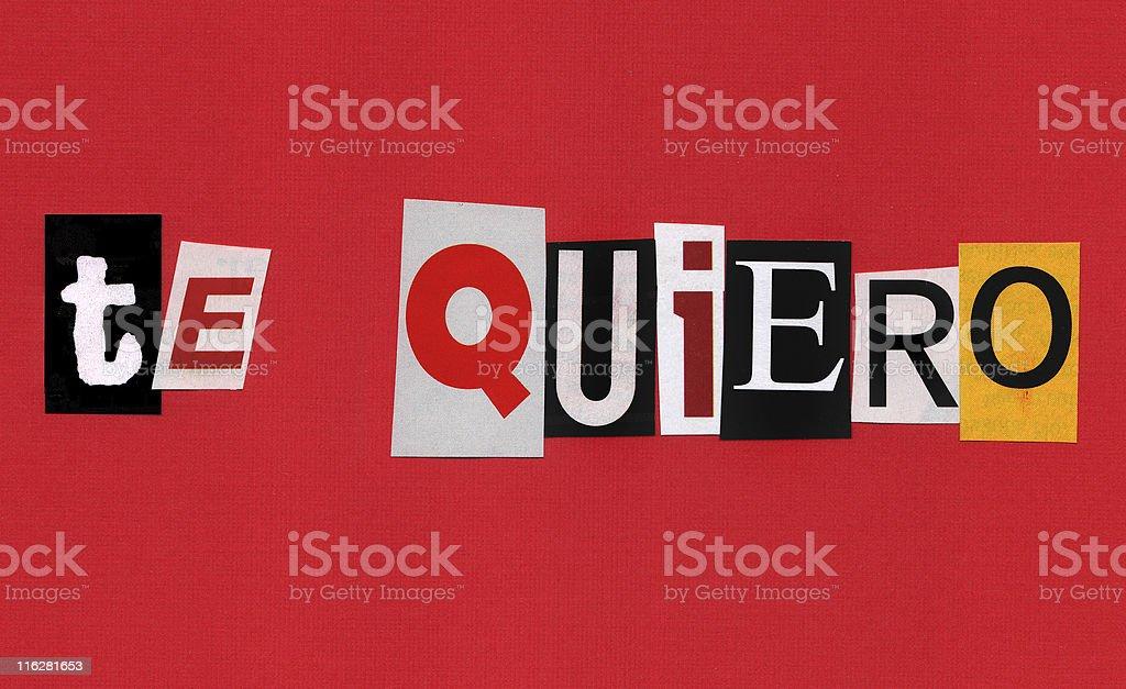 Valentine's Ransom Note - Spanish royalty-free stock photo