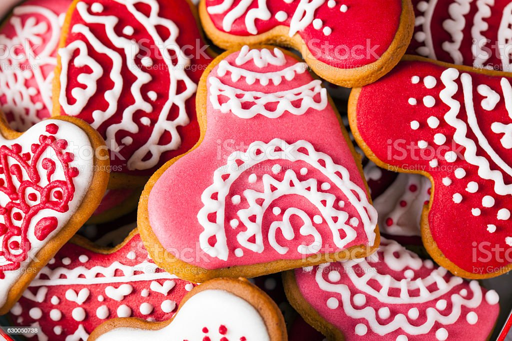 Valentine's Red and pink heart cookies full frame macro stock photo