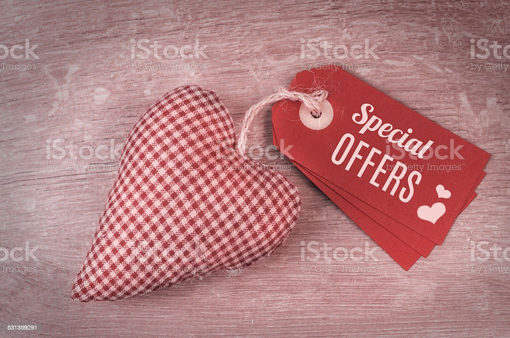 Valentine's tags and stuffed heart stock photo