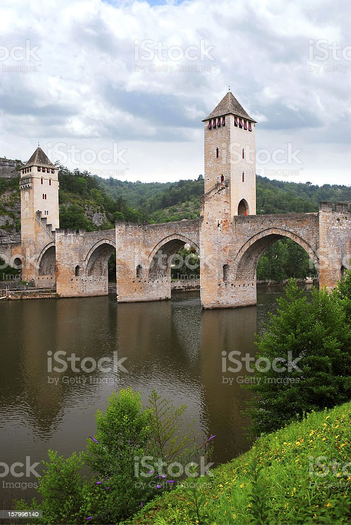 Valentre bridge in Cahors France stock photo