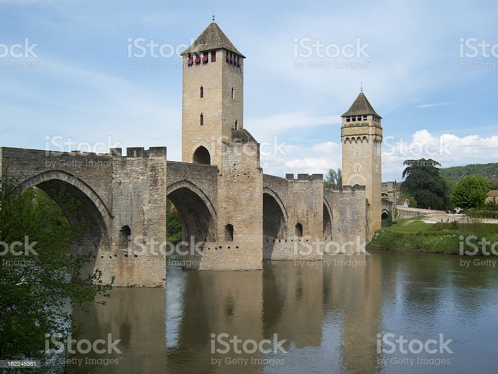 Valentre Bridge in Cahors. stock photo