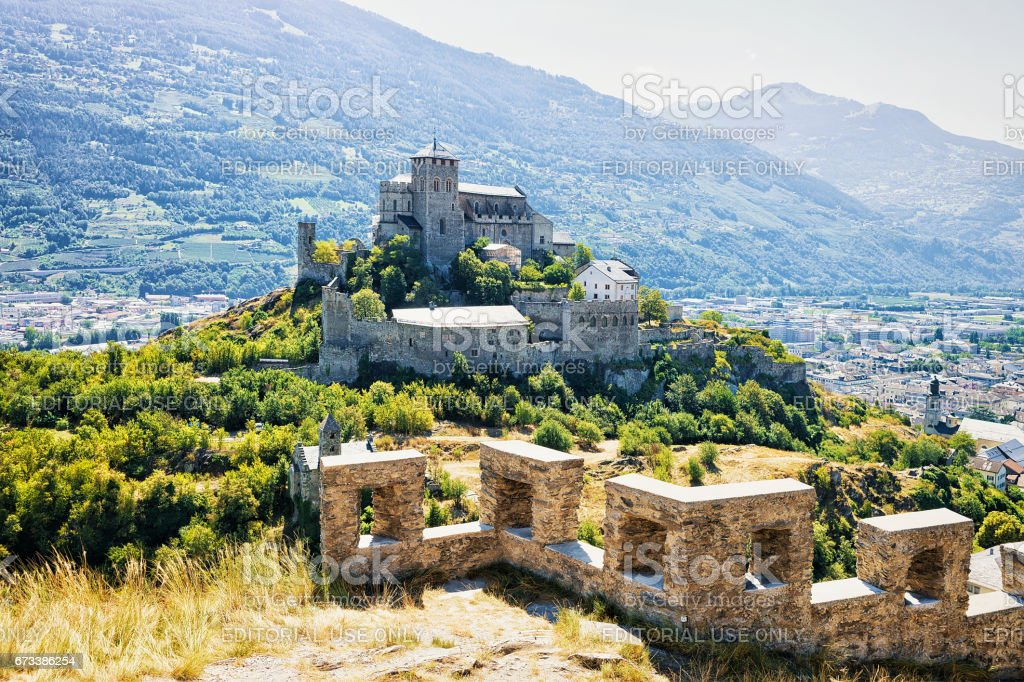 Valere Basilica and Tourbillon Castle in Sion capital Valais Switzerland stock photo