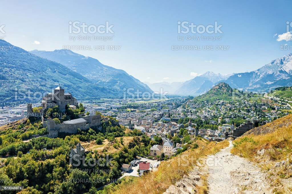 Valere Castle in hill in Sion Valais Switzerland stock photo