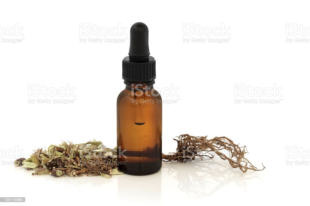Valerian Root and Tincture Bottle stock photo