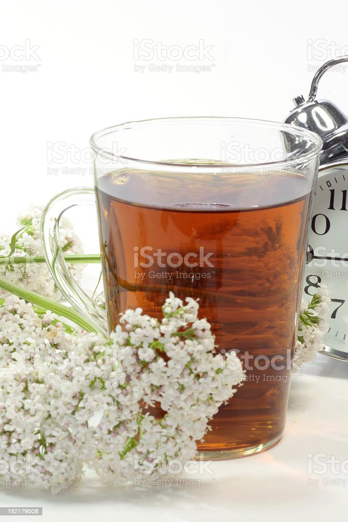 Valerian tea and herb with an alarm clock stock photo