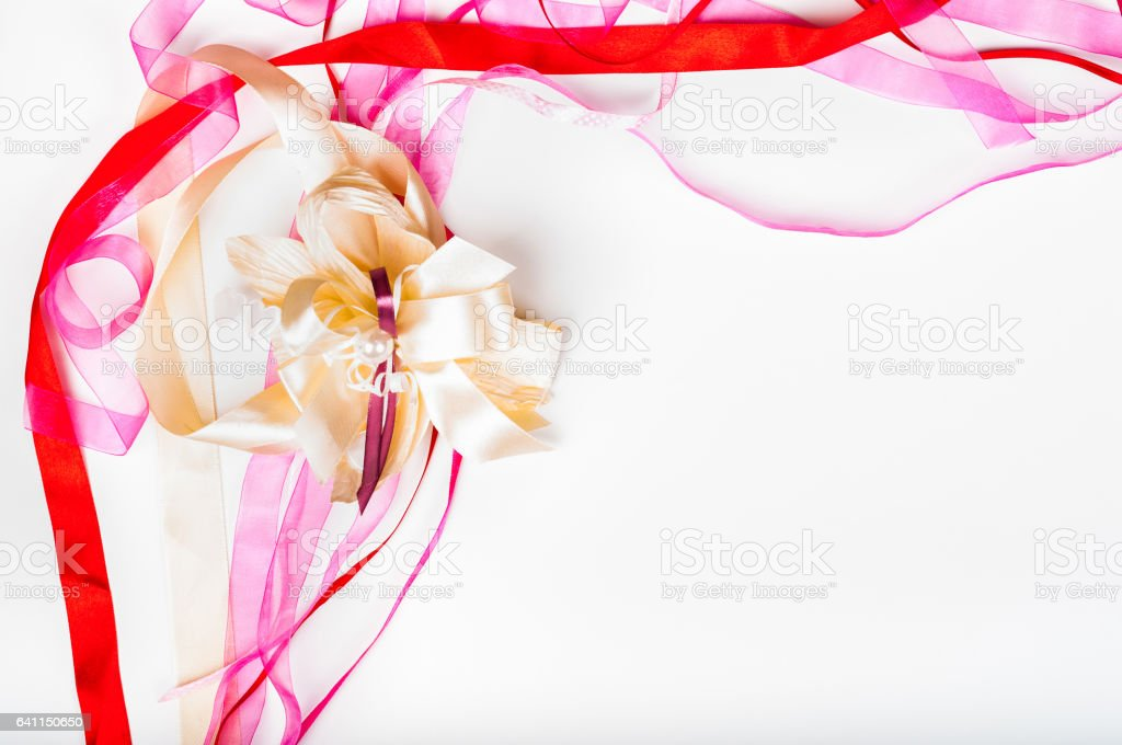Valetine's day, Mother's day, birthday concept - Colorful ribbon greeting card design stock photo