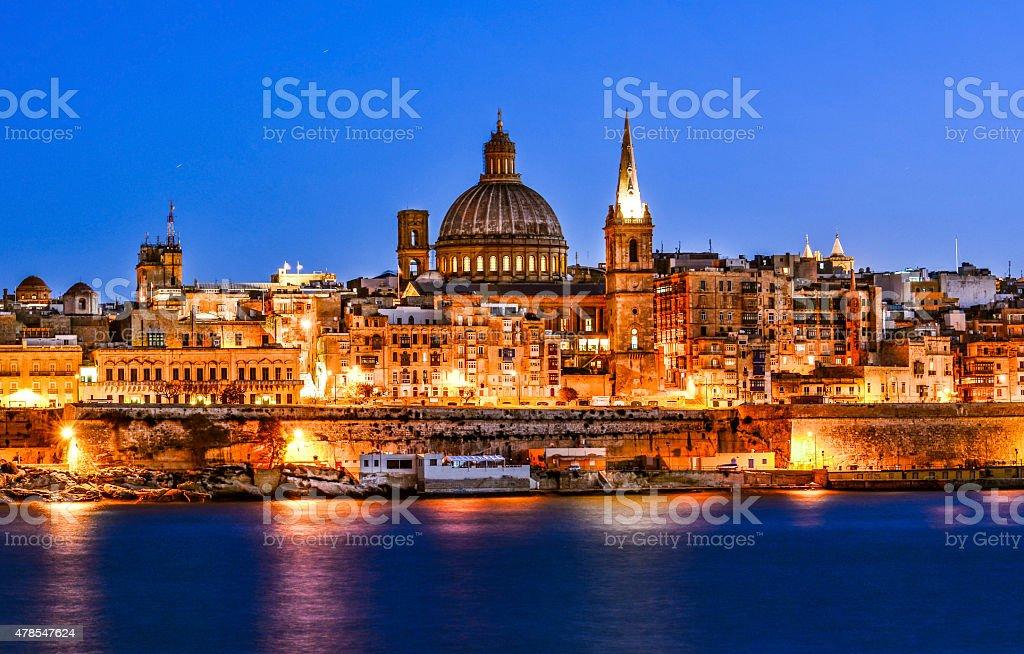 Valetta by night, Malta stock photo